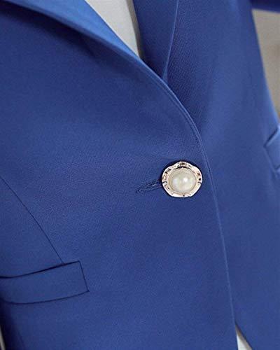 Blazer Slim Colore Donna Cappotto Fit Lunga Primaverile Moda Giacche Manica Da Bavero Eleganti Alla Button Business Tasche Autunno Semplice Tailleur Con Puro Blau Giacca Glamorous 44Yrx1d
