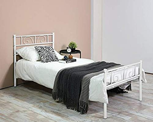 (Bed Frame Twin Size, Yanni ADRINA Easy Set-up Premium Metal Platform Mattress Foundation / Box Spring Replacement with Headboard and Footboard, Under-bed Storage, Enhanced Sturdy Slats(White))