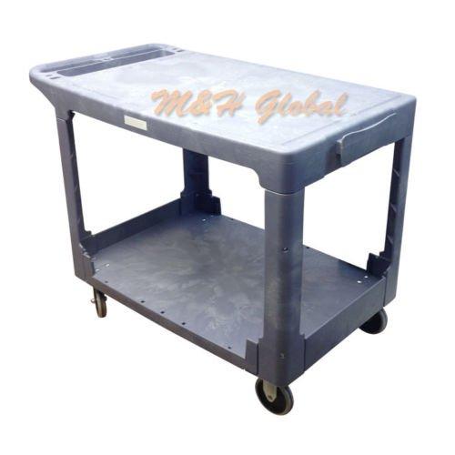 """Large 2 Shelves Plastic Service Utility Cart 26"""" X 36"""" Top S"""