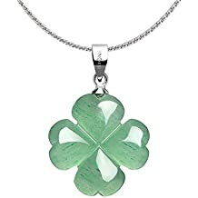 "iSTONE Unisex Healing Gemstone Necklace Natural Green Four Leaf Clover Stones Crystals Pendant Necklace with Chain 18"" Jewelry Gift"