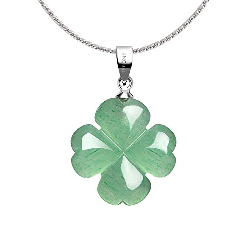 Jade Necklace Gemstone (iSTONE Green Aventurine Four Leaf Clover Pendant Necklace for Faith Hope Love and Luck 334301501 S)