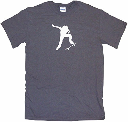 Ollie Skateboard Kid Silhouette Big Boy's Kids Tee Shirt Youth Medium-Charcoal