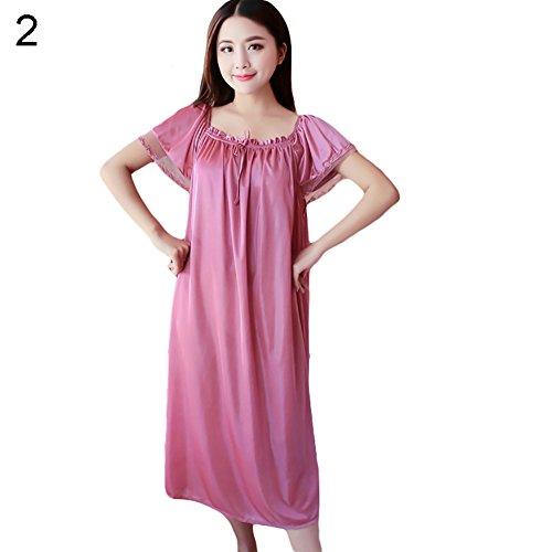 Buyanputra Sexy Women Sleepwear Solid Color Loose Simulation Silk Long Dress Nightwear (Cameo Brown) -