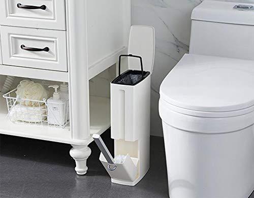 - Bathroom Flip Trash Can, Environmental Protection ABS Wide Caliber Large Capacity Portable Liner Bathroom Bathroom Trash Can with Toilet Brush,White