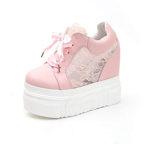 Womens Wedges Platform Sneakers Hollow-Out Round Toe Casual Sport Athletic High-Top Walking Shoes Pink