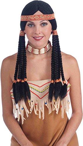 Forum Novelties Native American Wig, Black, One Size -