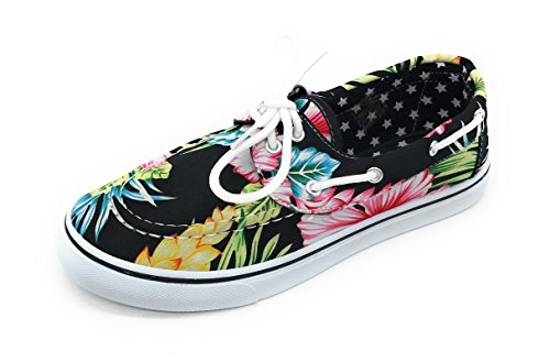 Berry Sneaker Toe Up Easy21 Lace Blue Shoe Flower Women Boat Oxford Flat Hawi Canvas Black Round gdqXwq
