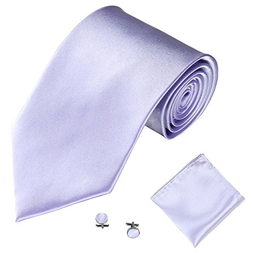 Freesa Tie for Men, 3PCS Men's Tie Solid Color Tie Cufflinks Pocket Towel Set 1PC Tie + 1PC Pocket + 1 Pair of Cufflinks Gift Idea for Men and Boys (T)