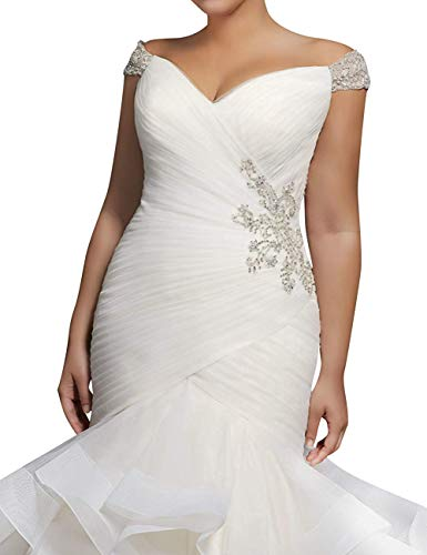 e5a7d44e04d XSWPL Women s Mermaid Wedding Dresses for Bride Cap Sleeve Beaded Bridal  Gown