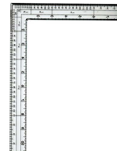 "Fairgate - Clear Acrylic/Plastic English L-Square Ruler 14"" X 24"" inches - Part # 05-124 - Made in The USA"