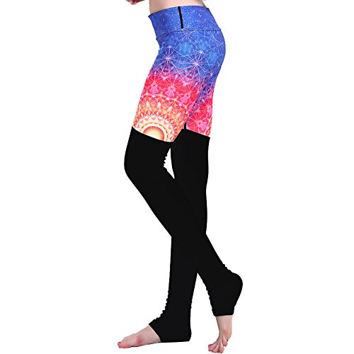 Ensasa Women's Workout High Waist Printed Ribbed Foot Stretch Tight Yoga Pants Leggings, Fireworks, Medium