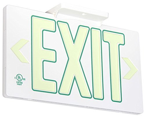 UL Listed 50 foot Jessup Glo Brite 7120-B Exit Sign, Single Sided with Frame, White with Green Outline, 8.75-Inch x 15.5-Inch (Mounts 4 ways, includes bracket and arrows) (Renewed)
