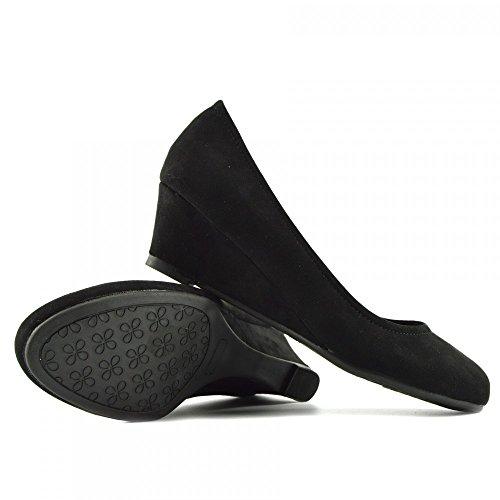 Kick Footwear - WOMENS FAUX SUEDE LOW HEEL WEDGE CASUAL ARBEIT SCHICKE PUMPS Black - 1