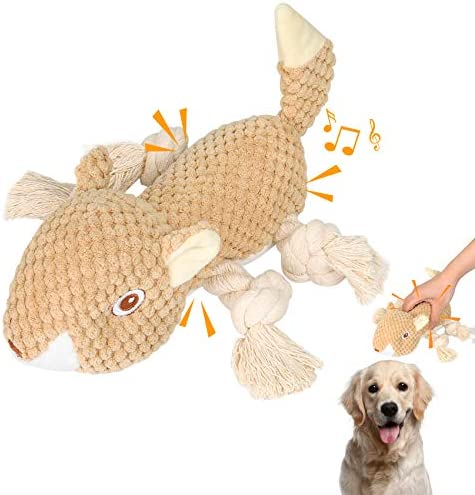 KCSHRAN Dog Plush Toys, Squeaky Dog Toys, Interactive Stuffed Squirrel Dog Toys, Tough Dog Chew Toy with Cotton Material and Crinkle Paper, Interactive Dog Toys for Large and Small Dogs