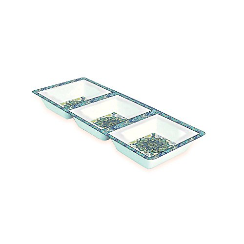 Clever Home Waverly Melamine Serving 3 Section Chip and Dip Serving Platter - Blue, Aqua and Green Ceramic Divided Tray