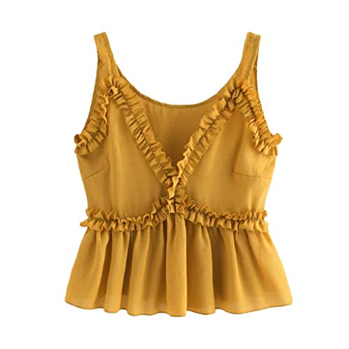 Sunhusing Womens Casual Ruffled V-Neck Solid Color Lace Trim Camisole Sleeveless Short Vest Crop Tops ()