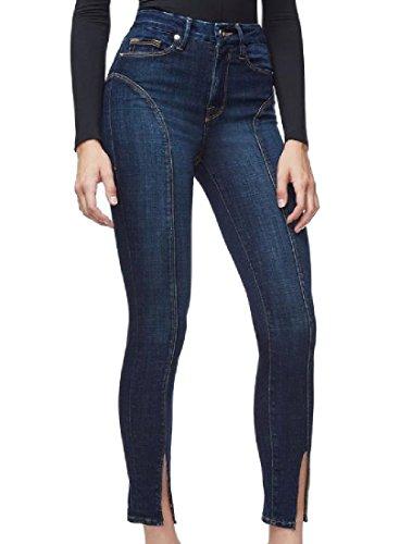 Coolred-Women Pockets Split Slim Fit Denim Cord Thin Tapered Jean Dark Blue (Tall Stretch Bootcut Cord)