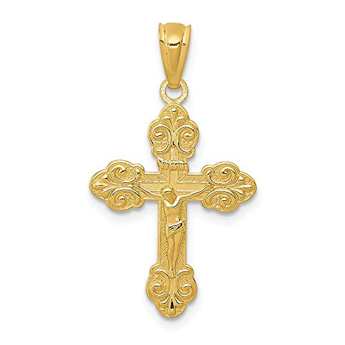 Jewelry Stores Network 14k Yellow Gold Polished INRI Fleur De Lis Crucifix Pendant 26x14mm ()