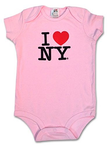 S & T World Products I Love NY Babies Onesie 100% Soft Cotton Pink 12 Month]()