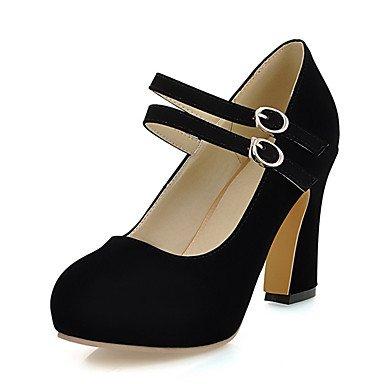 Zormey Tacones Mujer Primavera Verano Zapatos Club Polipiel Parte &Amp; Traje De Noche Chunky Talón Hebilla Negro Azul Amarillo Beige US5 / EU35 / UK3 / CN34