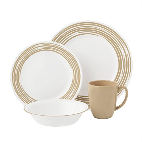 Corelle Boutique Brushed 16-Pc Dinnerware Set, Sand /w 3 Bonus Clips