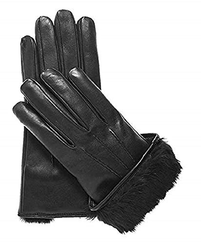 Men's Rabbit Fur Lined Genuine Soft Black Leather Gloves (Small)
