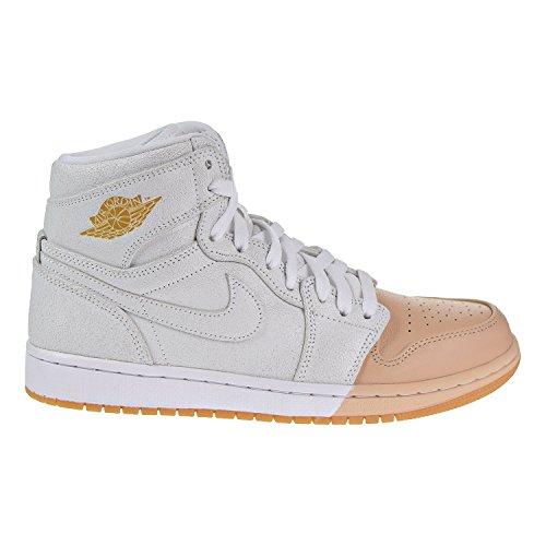 Jordan Nike Women's 1 Retro Hi Premium White/Metallic Gold Basketball Shoe 11 Women US by Jordan