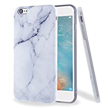 "For iphone 6 6S Case, ivencase White Marble Pattern Flexible Soft Rubber TPU Skin Case Bumper Silicone Gel Cover for Apple iPhone 6 6S 4.7"" + One ""ivencase"" Anti-dust Plug Stopper"
