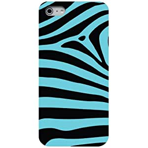 CUSTOM Black Hard Plastic Snap-On Case for Apple iPhone 5 / 5S - Black Bright Blue Zebra Skin Stripes