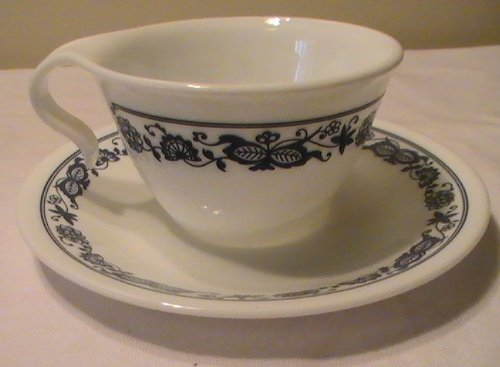 Corning Corelle Blue Onion (Old Town Blue) Hook Handle Cup - Four (4) Cups & 4 Saucers