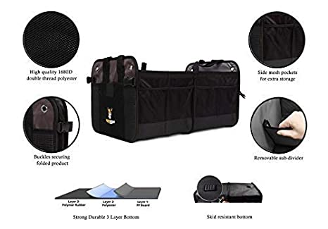 Minivan Car Truck Organizers and Cargo Storage for SUV Tuff Viking Trunk Organizer Jeep Accessories with Tie Down Straps 4-in-1 Built-in Leakproof Cooler Bag, Black Auto