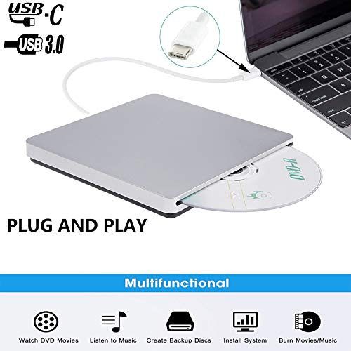 Xglysmyc External USB C Superdrive Ultra Slim USB3.0 CD DVD Drive Burner External CD/DVD +/-RW Writer Reader Player with High Speed Data for MacBook Pro Air/Laptop/Windows/Mac OSX -Silver (The Best Apple Laptop For Me)
