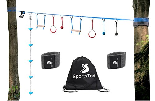 American Ninja Warrior Monkey Bars, 36' Jungle Gym Obstacle Course for Kids and Adults + Climbing Rope, Warrior Training Obstacle Course Equipment, Slackline Gymnastic Bar, Tree Protector & Carry Bag by SportsTrail