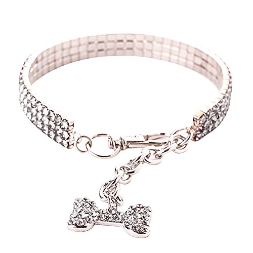 Cute Mini Pet Dog Bling Rhinestone Chocker Collars Fancy Dog Necklace Crown Pendant Pet Necklace Dog Necklace Pet Jewelry Pet Memorial Jewelry Dog Charms Cat Jewelry (Silver, S)