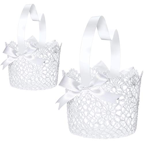 Boao White Handle Wedding Flower Girl Baskets, 2 Packs (5.90 x 4.72 x 4.33 -