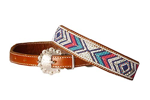 Showman Turquoise Navy Pink Rhinestone Navajo Beaded Buckle Leather Dog Collar (Medium 12 1/4