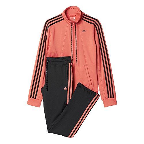 adidas Damen Trainingsanzug Essentials 3-Stripes, rosa/schwarz, M, 4055343975832