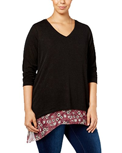 Style & Co. Womens Plus Layered Floral Print Blouse Black 2X (Co Floral . Blouse Style &)