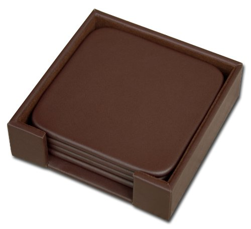 Dacasso Chocolate Brown Leather 4-Square Coaster (Leather 4 Coaster Set)