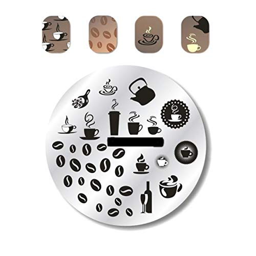 1 Pcs Coffee Cup Tea Pot Wine Bottle Nail Art Stamping Plates Manicure Tools Nails Stamp Stamper Plate Kits First Class Popular Gel Polish Valentines Day Words Clear Design ()