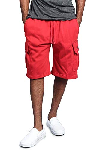 G-Style USA Men's Solid Fleece Heavyweight Cargo Shorts FS76 - RED - 2X-Large