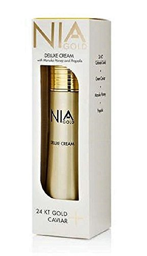 Nia Gold Luxury Anti-Aging Skin Care Deluxe Cream with Manuka Honey, Propolis, 24kt Gold, Caviar. 4oz cream for face and body.