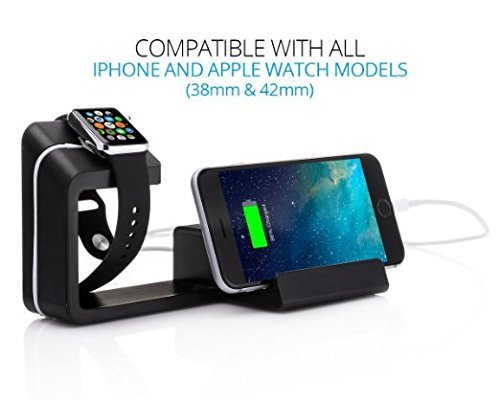 Element Works 2 in 1 Apple Watch Stand Charging Dock With Cell Phone Charging Stand | Charging Station Dock for Apple Watch & iPhone (Black) by  Element Works