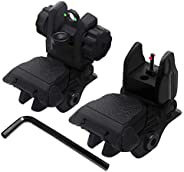 AWOTAC Polymer Black Fiber Optics Iron Sights Flip-up Front and Rear Sights with Red and Green Dots Fit Picati