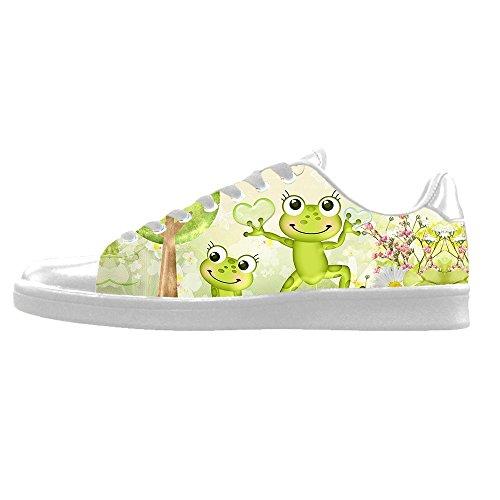 Delle Men's Lacci Divertente I Alto Le Da Tela Shoes In Sopra Di Canvas Ginnastica Scarpe Custom Rana 1E5wqn0