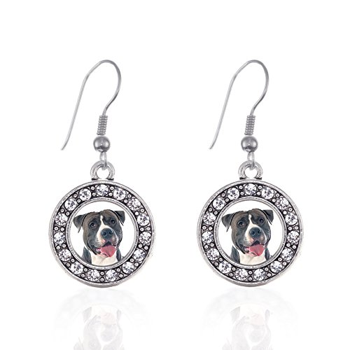 Inspired Silver - Blue Pit Bull Charm Earrings for Women - Silver Circle Charm French Hook Drop Earrings with Cubic Zirconia Jewelry
