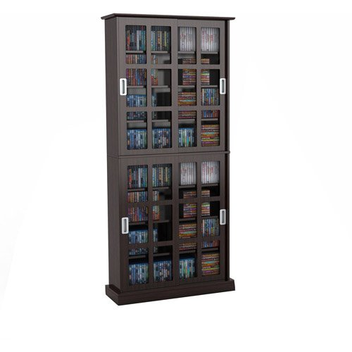 Atlantic Cabinet Office (Atlantic Windowpane Media Shelf Cabinet, Espresso)