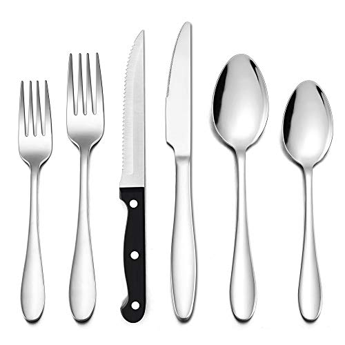 LIANYU 48-Piece Silverware Set with Steak Knives, Stainless Steel Flatware Cutlery Set for 8, Eating Utensils Tableware…