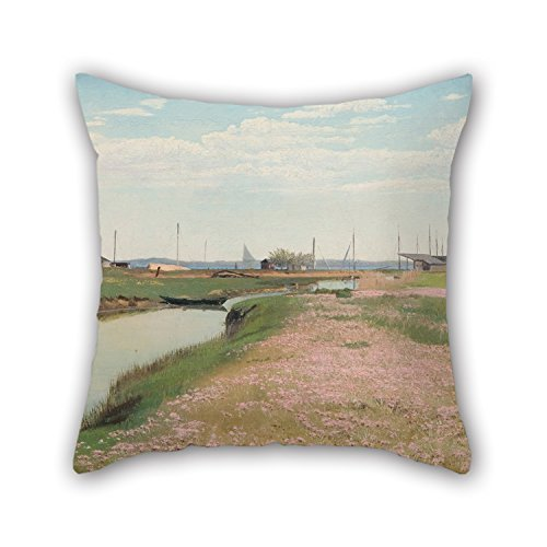 Oil Painting Laurits Andersen Ring - The River And The Harbour At Frederiksværk Pillowcase ,best For Home,home Theater,family,lounge,her,play Room 18 X 18 Inches / 45 By 45 Cm(twin