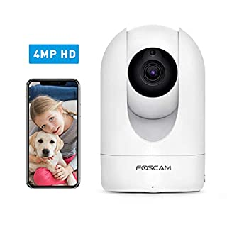 Foscam Home Security Camera R4S 4MP(2K) WiFi Camera, 2.4/5GHz Wireless IP Camera Baby Monitor with AI Human Detection & Sound Detection, 33ft Night Vision, 2-Way Audio,Compatible with Alexa, White